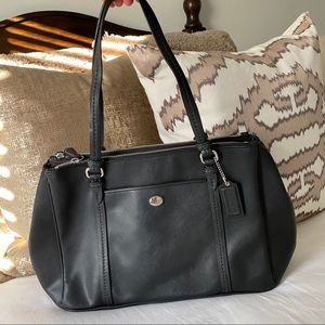 Black leather coach shoulder purse